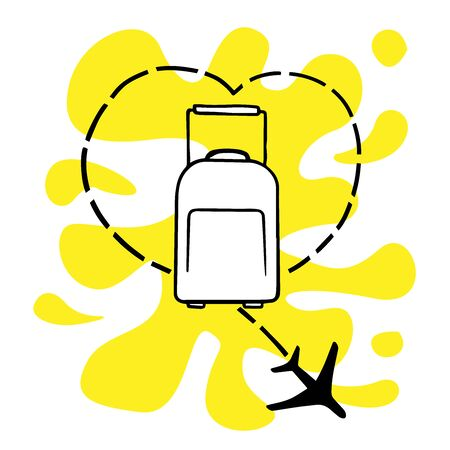doodle sketch suitcase with airplane, icon of love for travel, cartoon illustration on white background 向量圖像