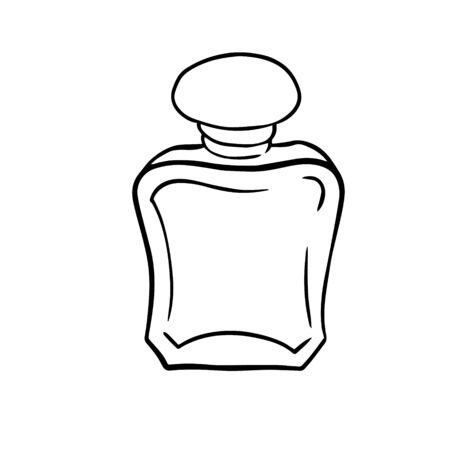 doodle sketch perfume bottle, illustration of aroma retro bottle, icon on a white background.