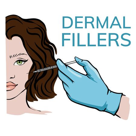 Cosmetic anti age treatment. Beautician makes an injection into the face of a woman. Simple illustration, doodle, sketch.