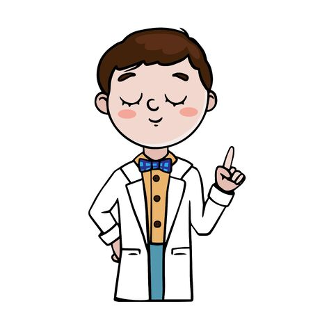 Doodle sketch boy in a white coat. Illustration of a chemist, biologist, doctor on a white background Vectores