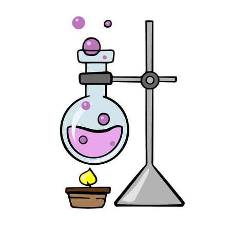 Doodle sketch laboratory apparatus, round chemical flask is heated. Laboratory experiment. Illustration on a white background.