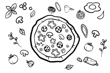 Italian pizza and ingredients top view frame. Italian food menu design template. Vintage hand drawn sketch, vector illustration. Engraved style illustration. Pizza label for menu. Illustration