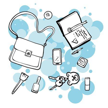 Doodle borsetta e cosmetici da donna schizzo. Illustrazione semplice e piatta di una borsa, rossetto, chiavi, taccuino, pennello Vettoriali