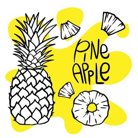 doodle pineapple sketch on white background Ilustração