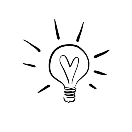 Doodle sketch of a burning light bulb, illustration of a new idea. Illustration
