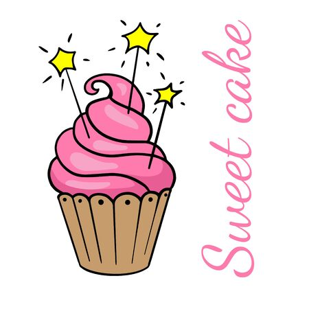 Delicious cupcake, illustration of a pink holiday cake on a white background