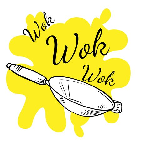 Doodle sketch wok pan on white background Ilustração