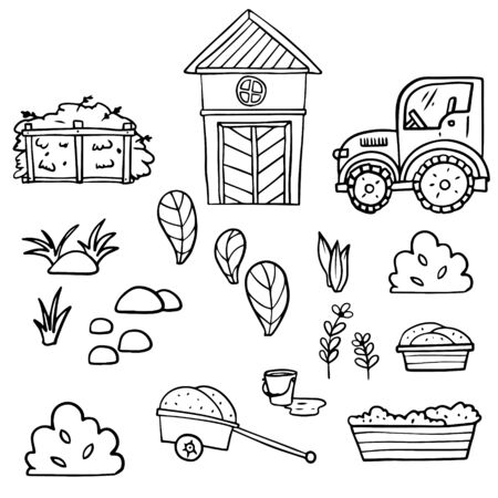 Doodle sketch farm elements. Icon illustration for print, web, infographic on a white background.