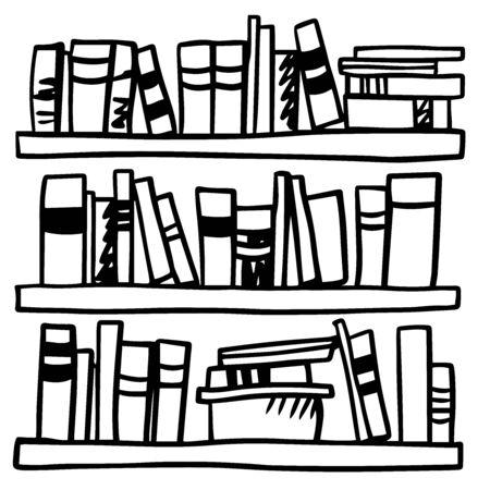 Doodle sketch books on shelf, illustration on white background