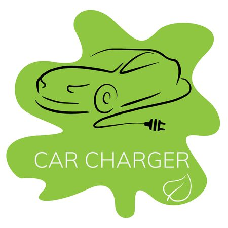 Doodle sketch illustration of an electric car on a white background. Icon of an electro car with a charging wire. Vettoriali