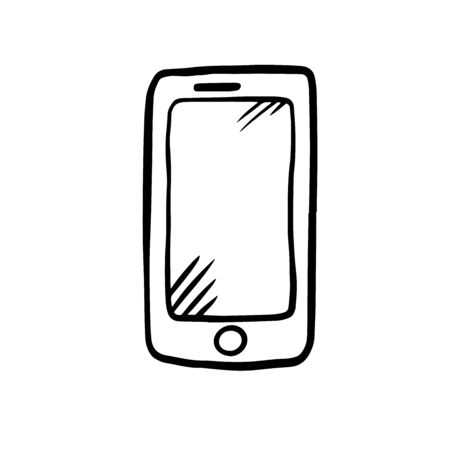 Smart Phone. Hand Drawn Doodle Icon. 일러스트