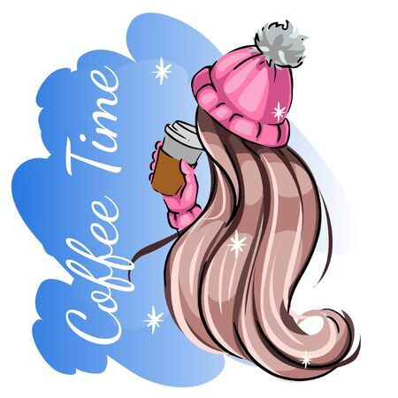 fashion sketch of a girl with long beautiful hair in a winter hat and a cup of coffee. Winter illustration of a woman from the back. 일러스트