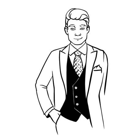 Vector icon of businessman with suit, in trendy flat design doodle