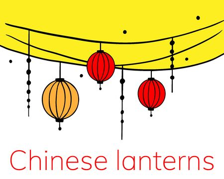 Chinese paper lanterns on a white background.