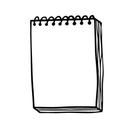 Doodle sketch notebook with blank sheets, illustration on white background. Illusztráció