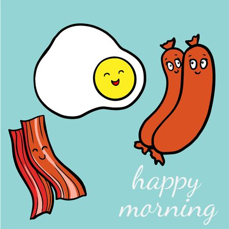 Funny Bacon and egg yolk. Flat icon. Vector illustration Doodle
