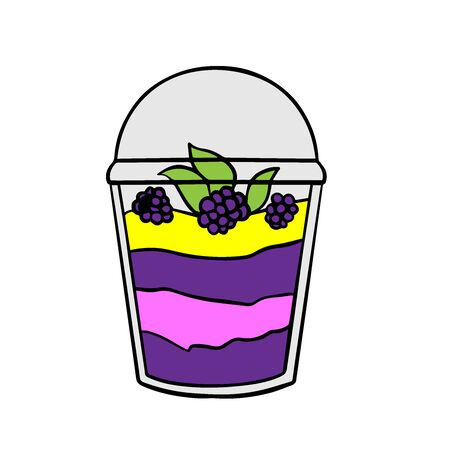 Doodle sketch eco dessert in a glass, Homemade Organic Fresh Fruit Parfait. Vegan Dessert Illustration