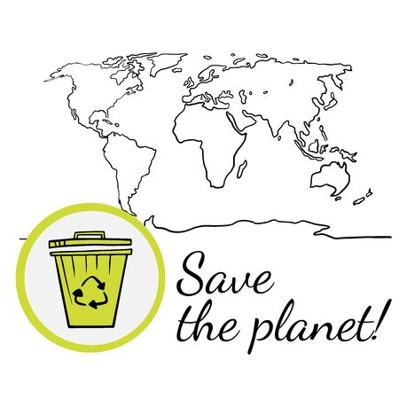 Save the planet, world map and recycling, doodle  drawing