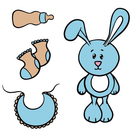 Doodle sketch toy rabbit, socks and bottle, illustration on a white background for your postcard, layout, site.