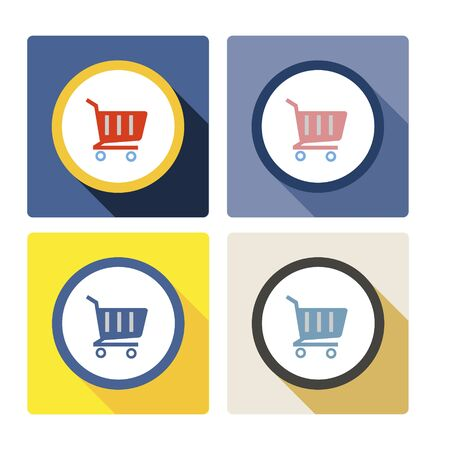 Simple flat illustration of a shopping trolley. Icon, buy button, basket on a white background