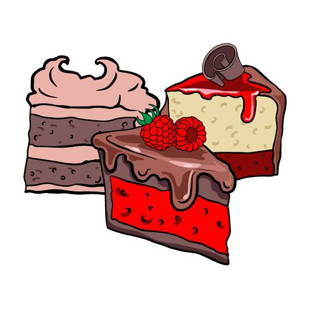 Doodle sketch sweets, illustration of different cakes on a white background, freehand drawing for wai advertising, logo, layout. Ilustrace