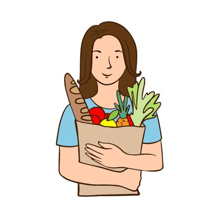 Doodle sketch woman with shopping bag. Simple, flat illustration on a white background.