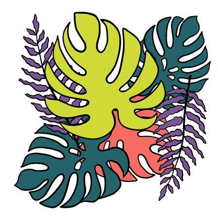 Doodle sketch of monster leaf and fern, cartoon drawing