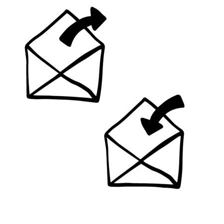 Doodle envelope icon, save and delete, sketch on white background Ilustrace