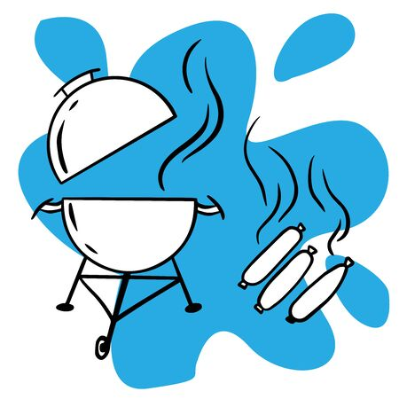 Doodle sketch barbecue with sausages on a white background Ilustração
