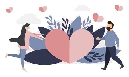 A simple, flat illustration of a postcard for Valentines Day. Tiny people, the concept of love, congratulations, meetings, dates for your layout, advertisement, banner, site. Ilustrace