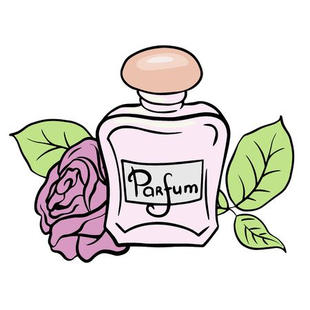 Perfume bottle and flowers. Doodle sketch perfume bottle on white background