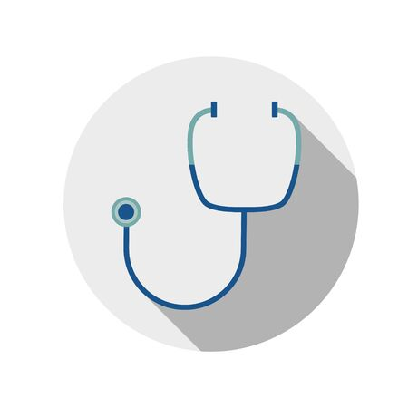 A simple, flat illustration of a medical stethoscope. Illustration for icons, buttons, logo on a white background.