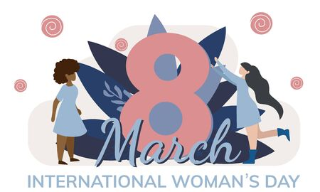 Happy Womens Day vector banner template. 8 March concept with copyspace. Different female flat characters, tiny people spending time together. Grl pwr, sisterhood, diversity, equality article Çizim
