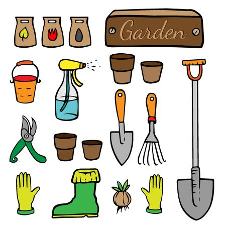 doodle sketch garden tools on white background, cartoon drawing inventory