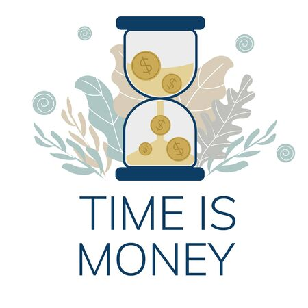 Simple, flat illustration of an hourglass and coins. The concept of time is money. Banner for your website, advertisement, mobile offer. 向量圖像