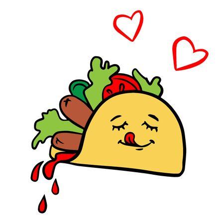 Doodle sketch gyros, burritos, cartoon cute fast food illustration on a white background