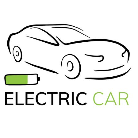 Doodle sketch illustration of an electric car on a white background. Icon of an electro car with a charging wire.