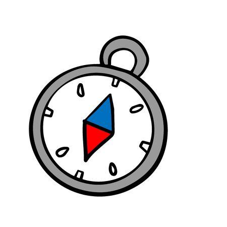 Compass. Doodle illustration isolated on white background 向量圖像