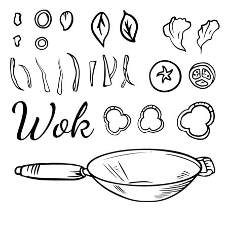 illustration of a Chinese wok pan with flying ingredients. Asian fast street food, rice noodles and vegetables. Vintage hand drawn style.