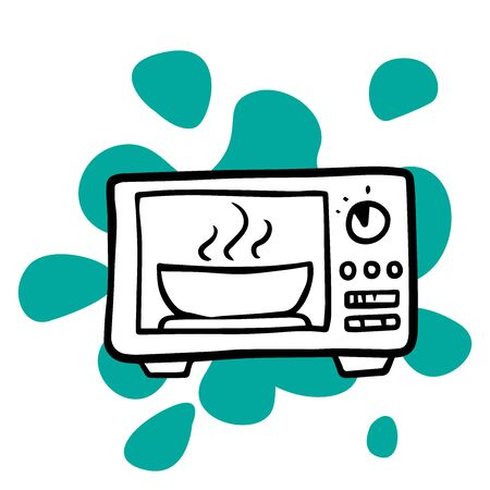 doodle sketch microwave icon on white background
