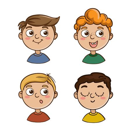 Collection of portraits of children in cartoon style. Cute characters kids boys on a white background.