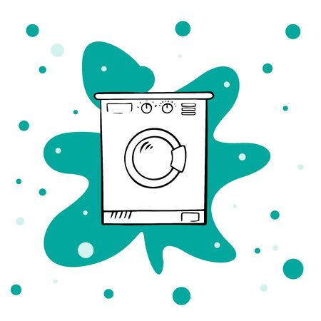 Hand drawn doodle Laundry set Vector illustration washing icons isolated on the white background.