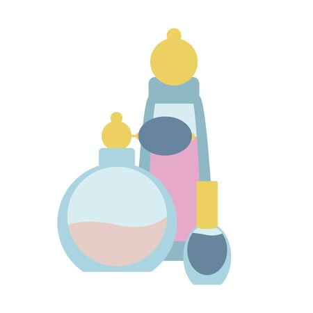 Simple, flat illustration of perfume bottle, cosmetics. Icon on a white background.