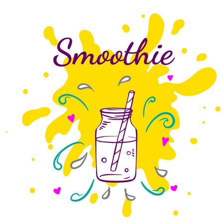 Smoothie or Detox in in glass bottle in sketch style with typography