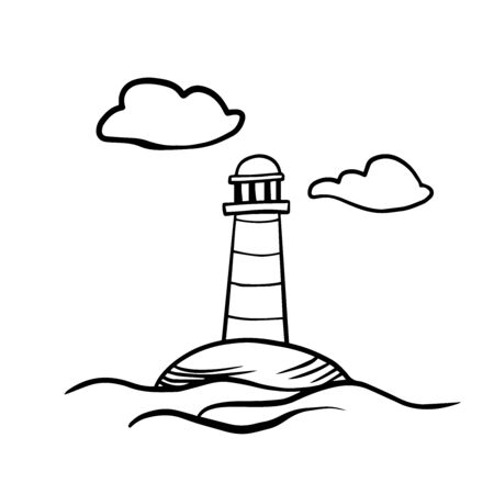 Doodle sketch lighthouse on a white background