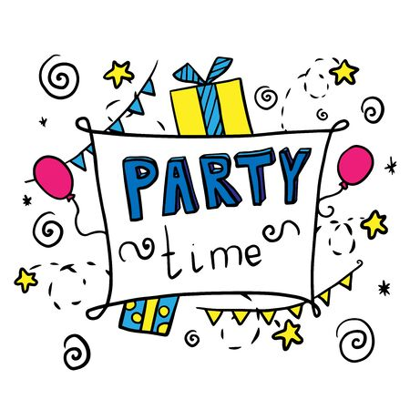 party time doodle illustration vector