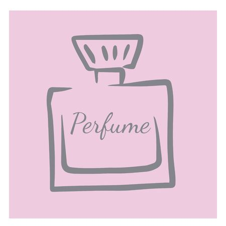 doodle sketch perfume bottle, illustration of aroma retro bottle, icon