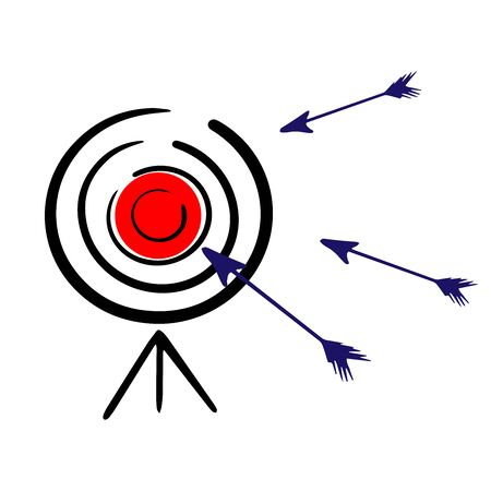 target for shooting and arrows, doodle on white background