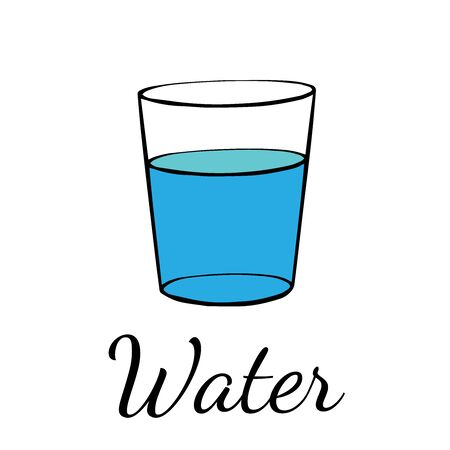 doodle sketch glass of water on a white background Illustration
