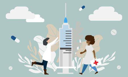 Simple flat illustration of doctors. Medical care concept. Professional medical assistance.